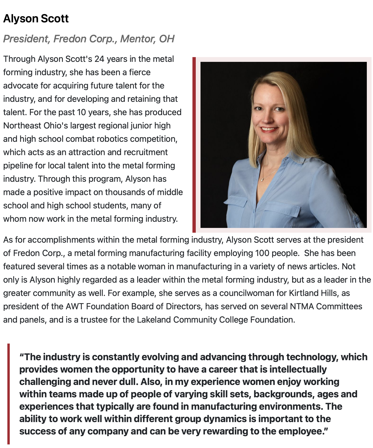 Article on President Alyson Scott included in list of 2020 Women of Excellence in Metal Forming & Fabricating.
